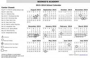2015-2016 Academy Calendar
